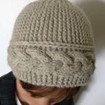 modèle tricot bonnet femme point mousse #12