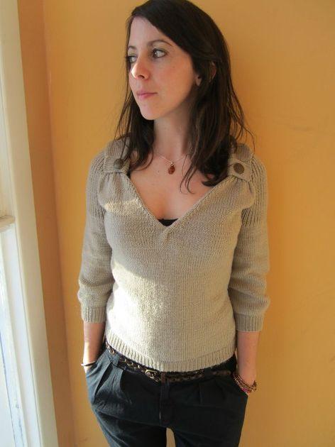 modèle tricot pull col v #10