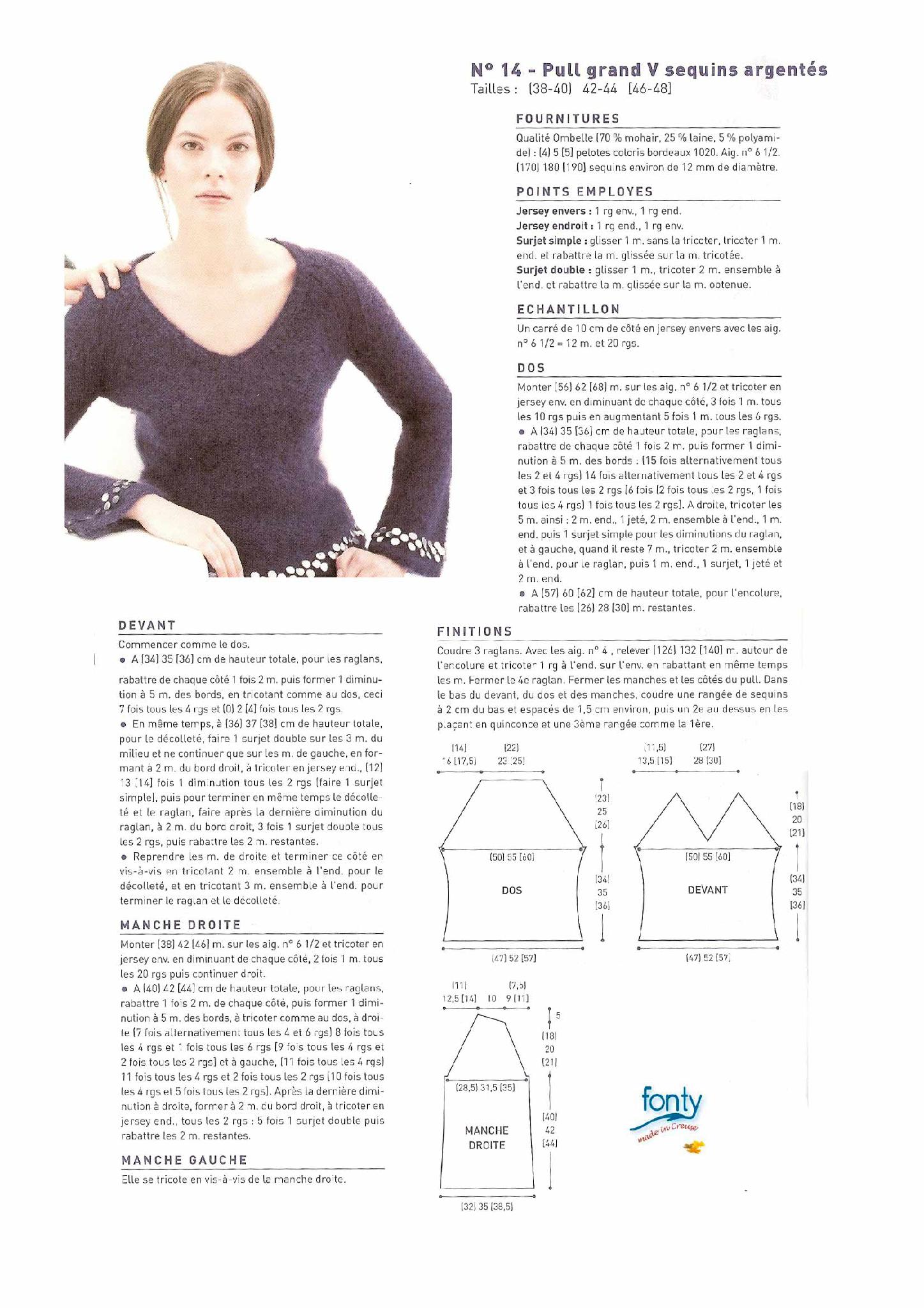 modèle tricot pull col v #2