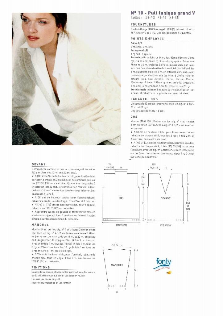 modèle tricot pull col v #4