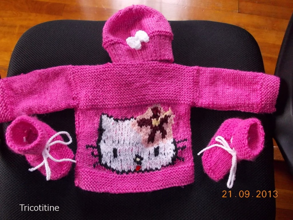 modele tricot chausson hello kitty #4