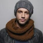 photo tricot modèle tricot facile snood homme 12