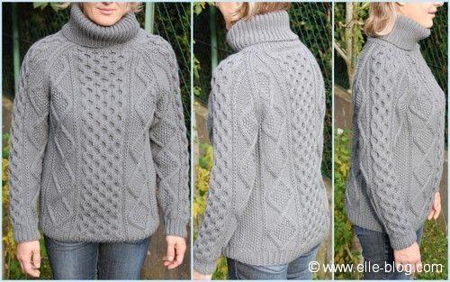 modele tricot gratuit pull irlandais femme
