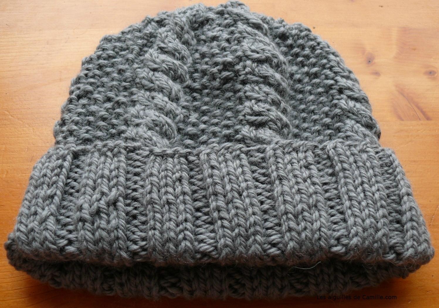 photo tricot patron tricot bonnet point de riz 14