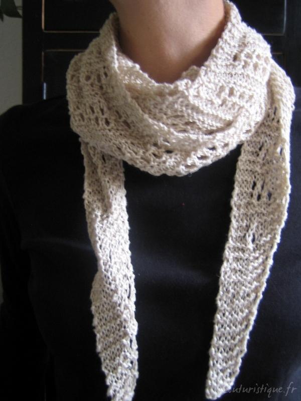 photo tricot modèle tricot écharpe ajourée 15