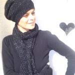 photo tricot modèle tricot bonnet écharpe femme