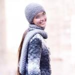 photo tricot modèle tricot bonnet écharpe femme 6