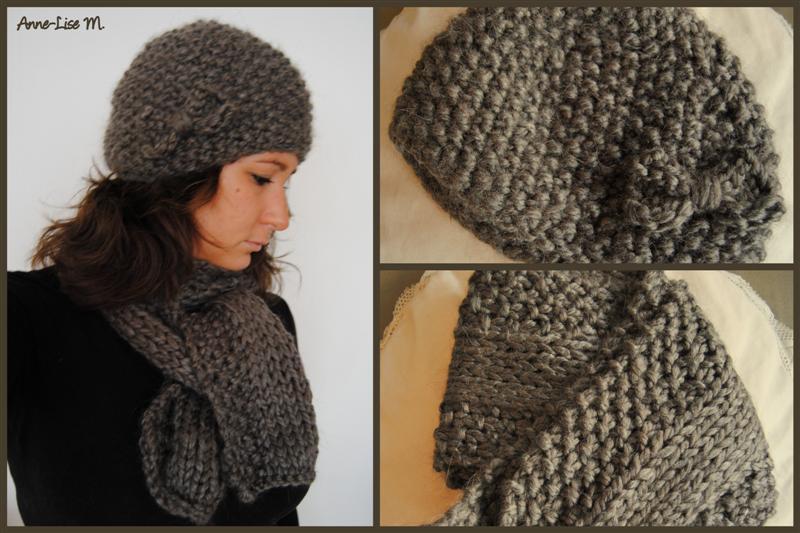 photo tricot modèle tricot bonnet écharpe femme 8