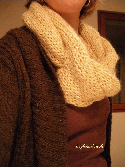 photo tricot modèle tricot facile snood gratuit 15