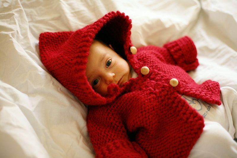 photo tricot modèle tricot gilet capuche bébé 14