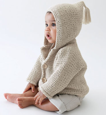 photo tricot modèle tricot gilet capuche bébé