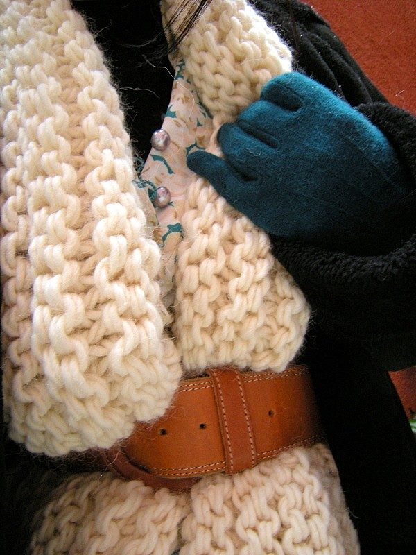 tricoter echarpe grosse laine