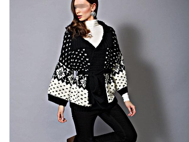 photo tricot modèle tricot gilet jacquard femme 10