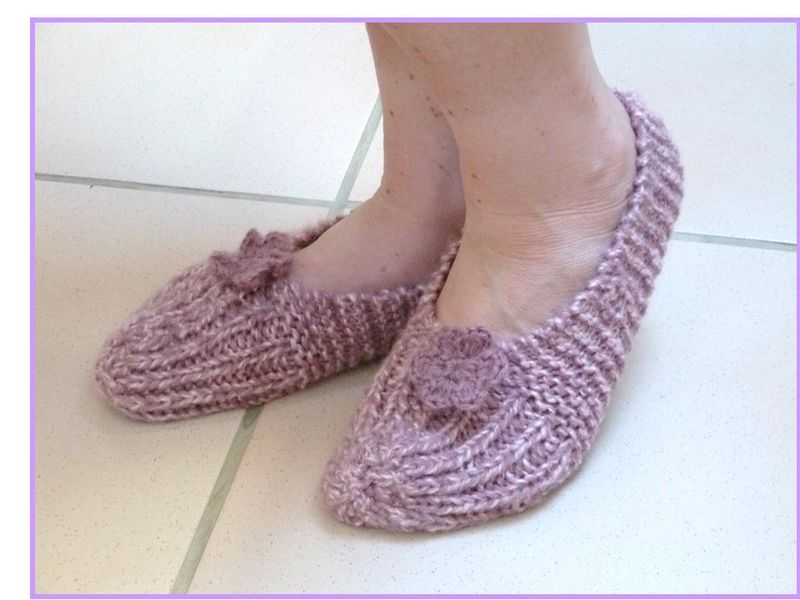 photo tricot modele tricot chausson adulte facile 14