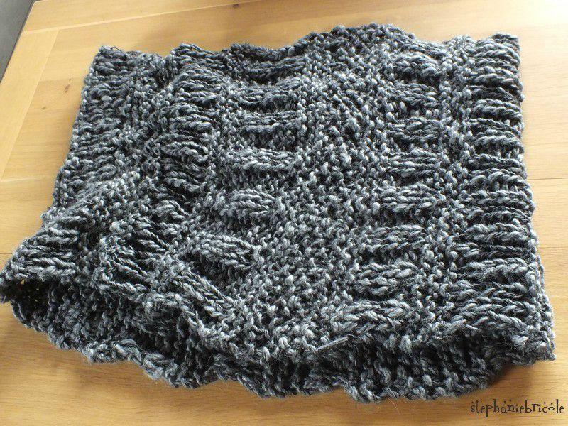 photo tricot modele tricoter echarpe tube 11