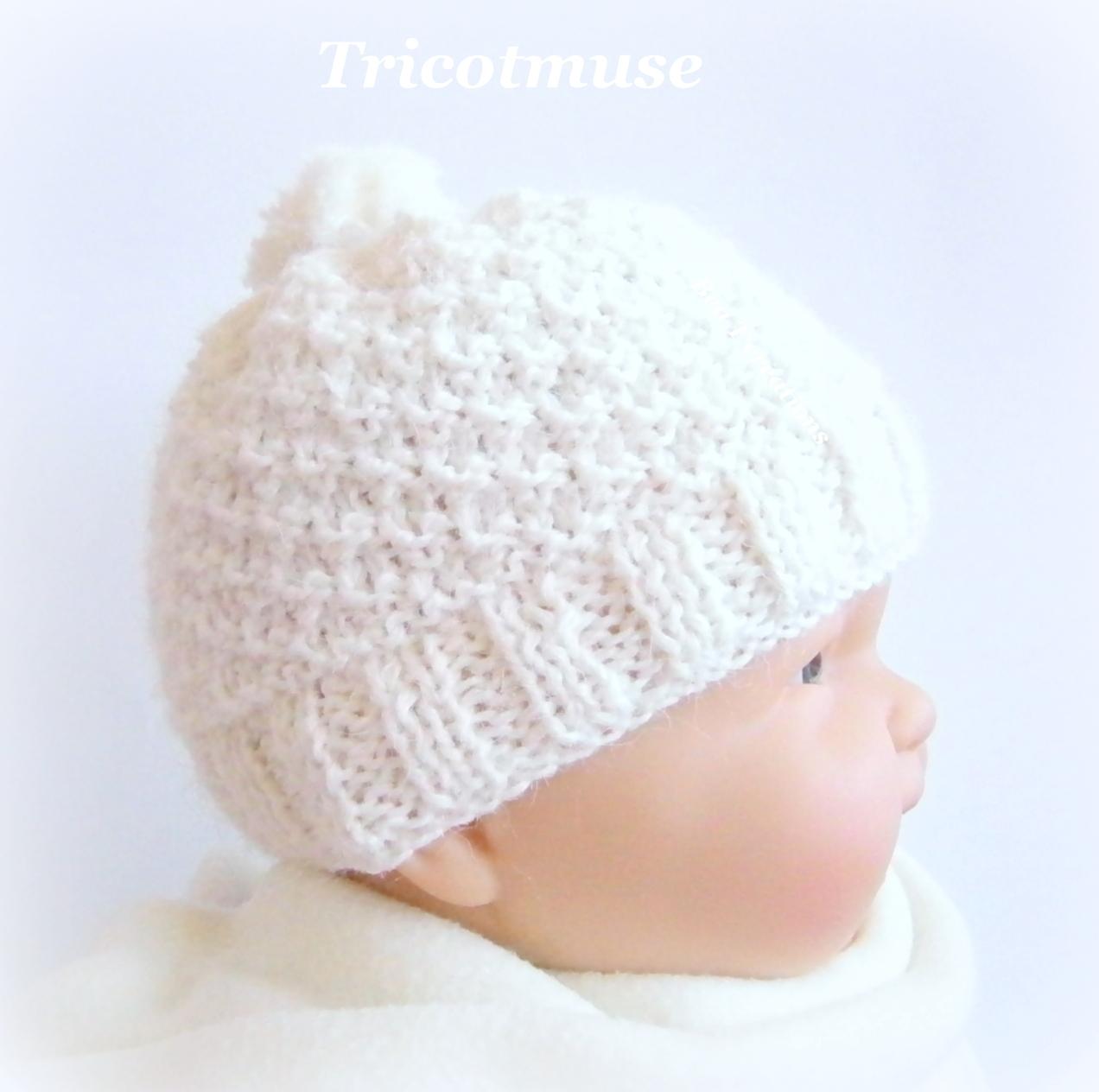 Photo tricot tricoter bonnet b b naissance facile 15 - Modele de bonnet a tricoter facile ...